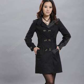 Womens Ladies Fashion Slim Fit Trench Double Breasted Coat Jacket