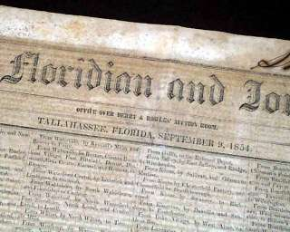 Rare TALLAHASSEE FL Florida ANTEBELLUM Georgia 1854 Pre Civil War OLD