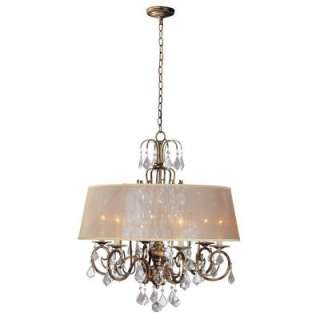 World Imports Bella Marie 6 Light Hanging Antique Gold Chandelier