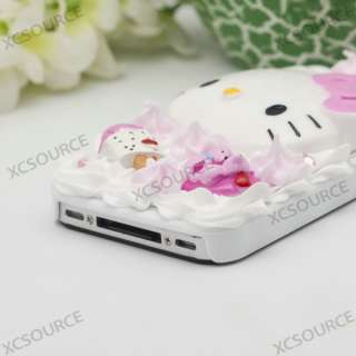 Jewel Rose Hello kitty Cake Back Case for iPhone 4 4S 4G PC158