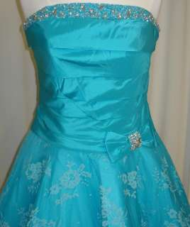SHORT BALL GOWN PROM DRESSES TURQUOISE SIZE 14