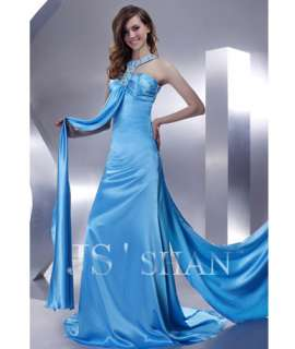 JSSHAN Blue Halter Satin Bead Party Ball Formal Prom Gown Evening