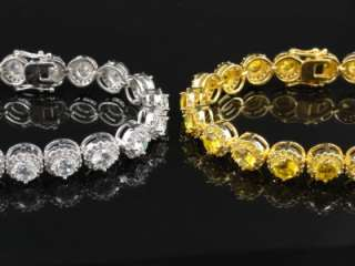 Mens Womens New Gold Finish Diamond Simulate White/Yellow Bracelet 8