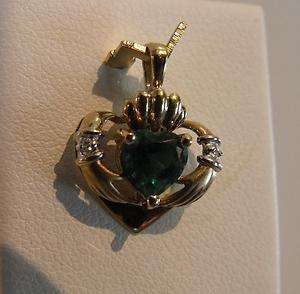 10K YELLOW GOLD 3D EMERALD DIAMOND CLADDAGH CHARM PENDANT