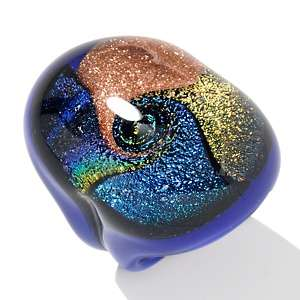 Murano by Manuela Multi Colored Iridescent Blue Glass Ring