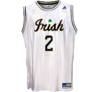 adidas Notre Dame Fighting Irish #2 White Youth Replica Basketball
