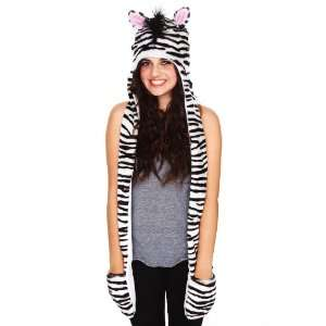 Deluxe Long Zebra Animal Plush Faux Fur Hat with Mittens