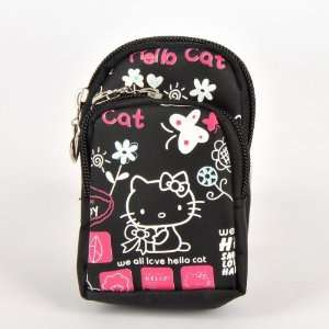 Hello Kitty Cell Phone PDA Pouch Case Bag Black Electronics