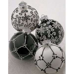 Set of 2 Fancy Black & White Glass Ball Christmas Ornaments 4 #821527