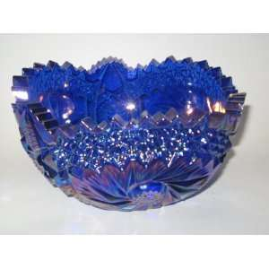 Cobalt Blue Carnival Glass Zippered Rim Starlette Bowl