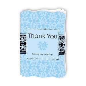 Damask Boy   Personalized Baby Thank You Cards With