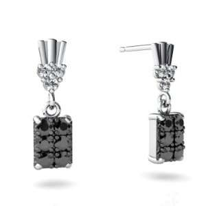 14K White Gold Black Diamond Dangle Drop Earrings Jewelry