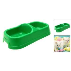 Double Square Bowls Dog Cat Pet Food Water Feeder Dish