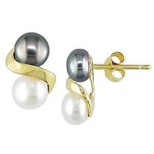 Gold 5 6mm Black and White Cultured Freshwater Pearl Earrings Jewelry
