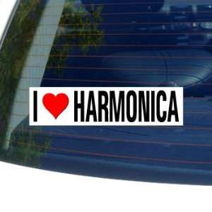 I Love Heart HARMONICA   Window Bumper Sticker Automotive