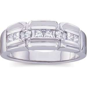 14K White Gold Mens Diamond Ring Jewelry