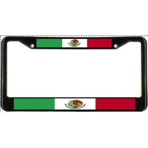 Mexico Mexican Flag Black License Plate Frame Metal Holder