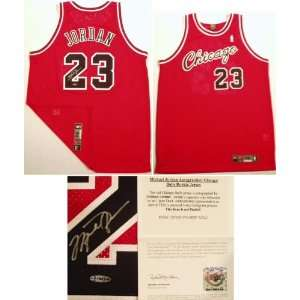com Michael Jordan Signed Bulls Nike Authentic Red Rookie Year Jersey