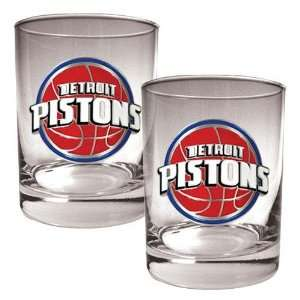 Detroit Pistons NBA 2pc Rocks Glass Set   Primary Logo
