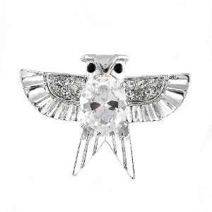 Perfect Gift   High Quality Dazzling Owl Brooch with Silver Swarovski