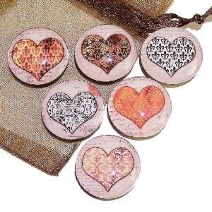 Hearts On Vintage Post Cards Glass Tile Fridge Magnets   Handmade