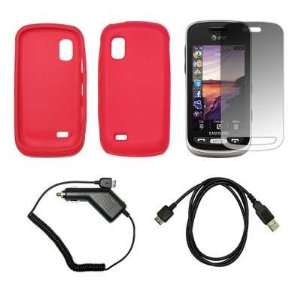 Red Soft Silicone Gel Skin Cover Case + LCD Screen