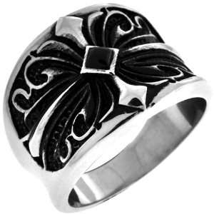 Jewelry Mens Gothic Scroll Cross 316L Stainless Steel Ring Jewelry