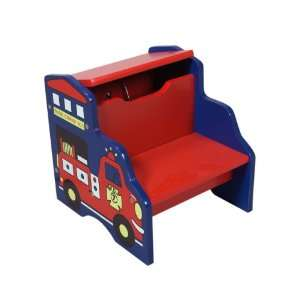 Gift Mark Fire Engine Step Stool with Storage Baby