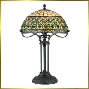 Tiffany Table Lamp, QZTF232T, 2 lights, Antique Bronze, 18