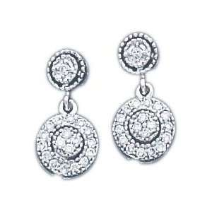 14K White Gold .25ct Diamond Vintage Earrings New Jewelry