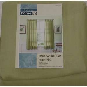 Casual Home Two Green Sailcloth Window Panels Curtain Pair 63