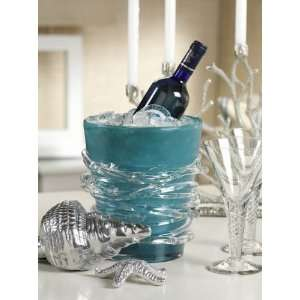 Blue Glass Wine Cooler Mouth Blown Unique Design