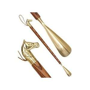 Horse Head Brass Shoe Horn Ash Wood