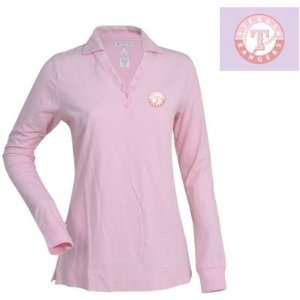 Texas Rangers Womens Fortune Polo by Antigua   Pink Small