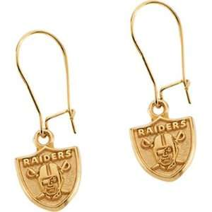 14k Yellow Gold Oakland Raiders NFL Logo Earrings Jewelry