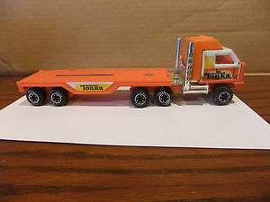 Old Vintage Antique Tonka Semi Truck and Flat Bed Trailer Orange