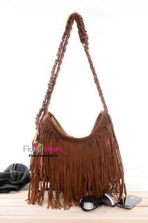 BOHO Retro Purse Fringe Handbag Bag Crossbody GRAY