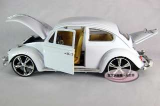 New Volkswagen Beetle Wecker 118 Alloy Diecast Model Car White B117d