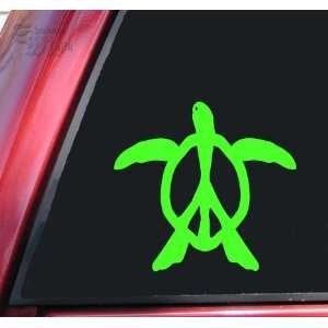 Peace Honu Hawaiian Sea Turtle Vinyl Decal Sticker   Lime